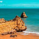 Fabulous Dona Ana Beach in Lagos Portugal in Teal and Orange by Georgia Mizuleva