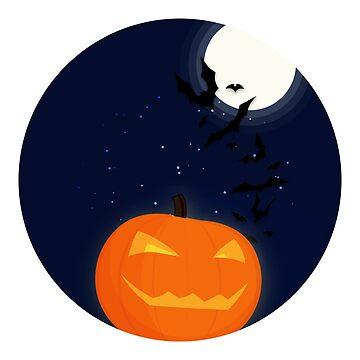 Halloween Pumpkin & Bats by amedeea
