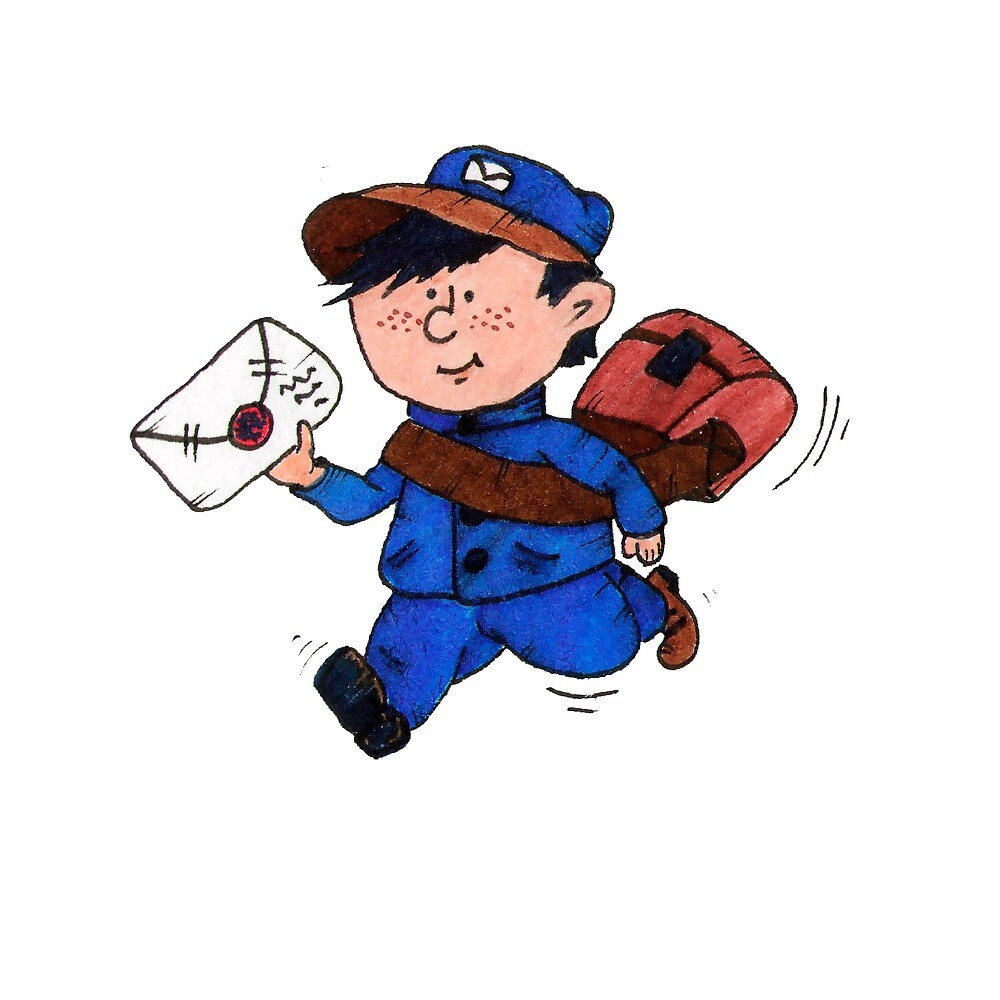 Cartoon little boy postman running letter. by Olyapka-spb
