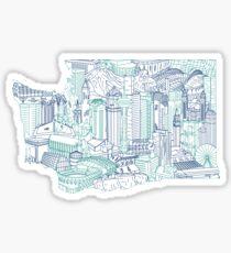 Pegatina Arte del paisaje urbano de Seattle Washington Skyline