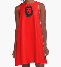 Che, Guevara, Rebel, Revolution, Marxist, Revolutionary, Cuba, Power to the people! Black on Red A-Line Dress