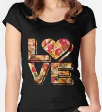 I Love Heart Pizza Yummy Pepperoni Cheese Bread Women's Fitted Scoop T-Shirt