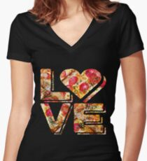 I Love Heart Pizza Yummy Pepperoni Cheese Bread Fitted V-Neck T-Shirt