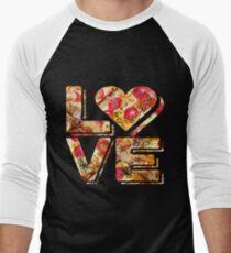 I Love Heart Pizza Yummy Pepperoni Cheese Bread Men's Baseball ¾ T-Shirt