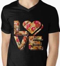 I Love Heart Pizza Yummy Pepperoni Cheese Bread V-Neck T-Shirt
