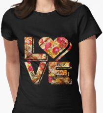 I Love Heart Pizza Yummy Pepperoni Cheese Bread Fitted T-Shirt