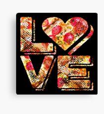 I Love Heart Pizza Yummy Pepperoni Cheese Bread Canvas Print