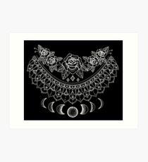Lunar Floral Mandala - weißer Druck Kunstdruck