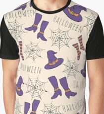 Witchy Halloween Pattern Graphic T-Shirt