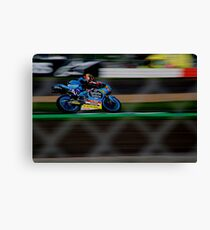 motorbike though the fencing Canvas Print