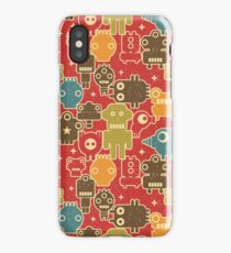 Robots on red iPhone Case/Skin