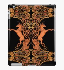 Image of two fantasy horses in floral frame. iPad Case/Skin