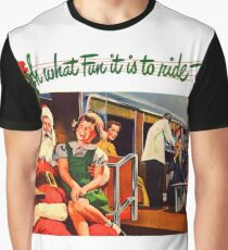 Santa Claus and little girl sing happily on the train, vintage holiday ad Graphic T-Shirt