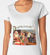 Santa Claus and little girl sing happily on the train, vintage holiday ad Women's Premium T-Shirt
