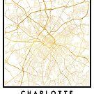CHARLOTTE NORTH CAROLINA CITY STREET MAP ART by deificusArt