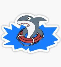 Funny Shark Can't Swim Drowning  Sticker