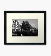 Canal Bridge In Amsterdam Framed Print