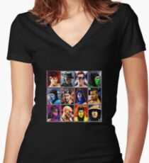 Mortal Kombat 2 Character Select Women's Fitted V-Neck T-Shirt