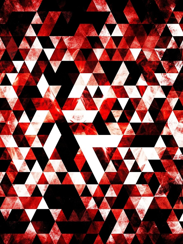 Triangle Geometric Vibrant Red Smoky Galaxy by PLdesign