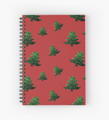 Sparkly Christmas tree green sparkles pattern Spiral Notebook
