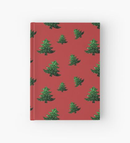 Sparkly Christmas tree green sparkles pattern Hardcover Journal