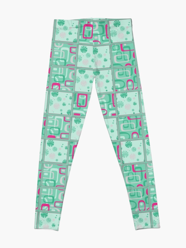 Alternate view of HIGH SELLING RETRO 1950S INSPIRED CHECKS IN PINK AND AQUA  Leggings