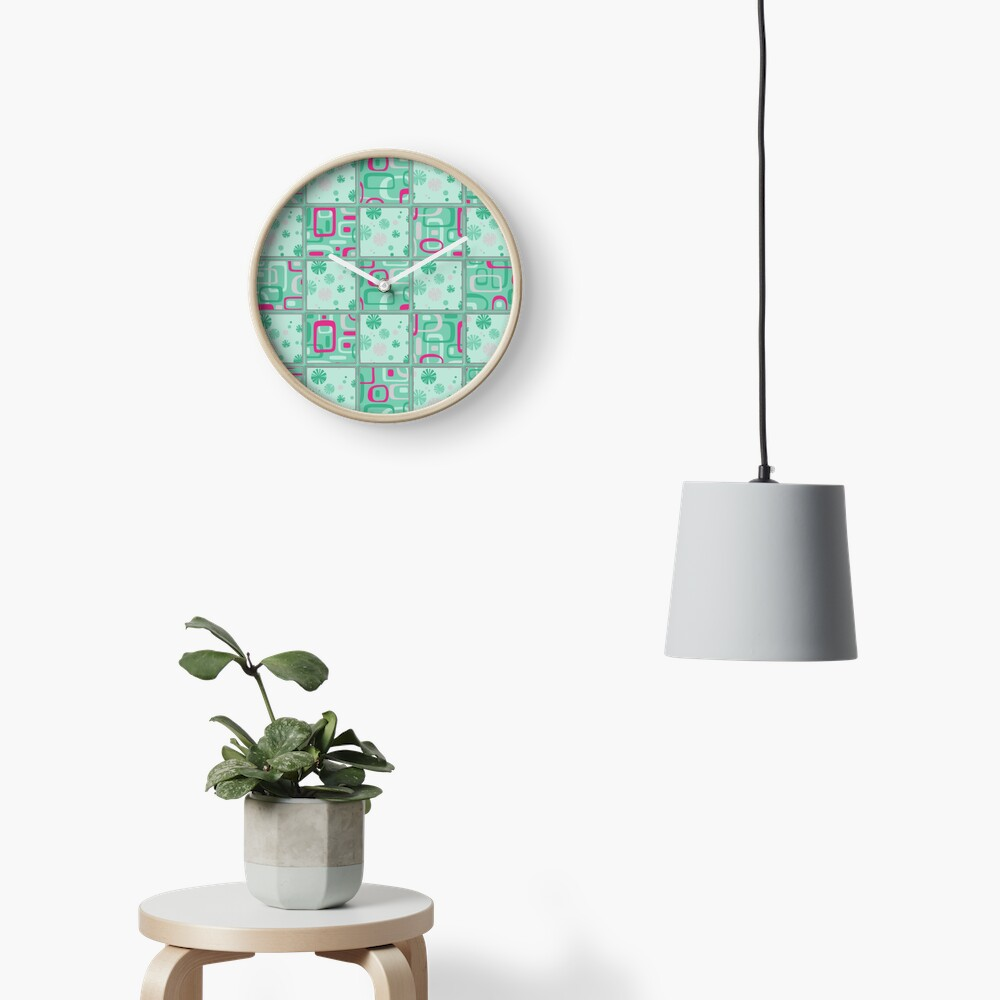 HIGH SELLING RETRO 1950S INSPIRED CHECKS IN PINK AND AQUA  Clock