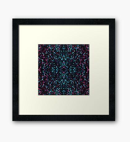 Sparkly pink blue mosaic glitter sparkles Mandala Framed Print