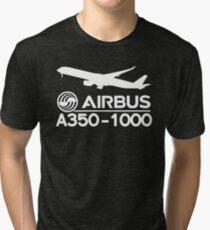 Airbus A350-1000 - Silhouette (White) Tri-blend T-Shirt