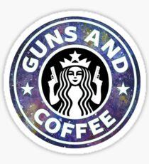 Guns and coffee - galaxy Sticker