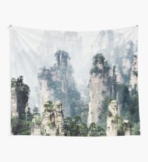 Floating mountains Zhangjiajie National Forest Park art photo print Wall Tapestry