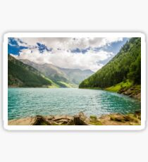 Landscape with lake and small beach lawn of the Trentino Alto Adige Sticker
