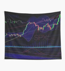 Stock market trading SPX500 charts concept art print Wall Tapestry