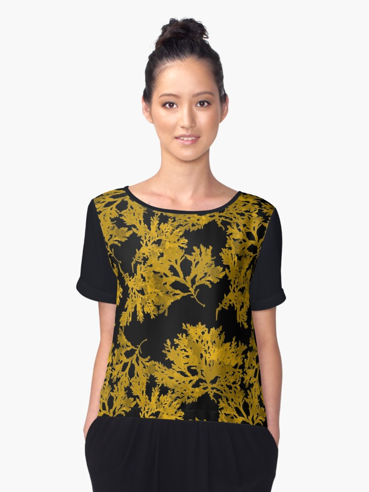 Black Gold Leaf Pattern Women's Chiffon Top Front