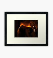 Sensual dynamic photo of couple making love in front of fireplace art photo print Framed Print