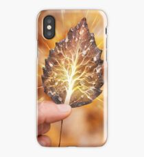 Hand holding leaf with tree inside nature fractals concept art photo print iPhone Case