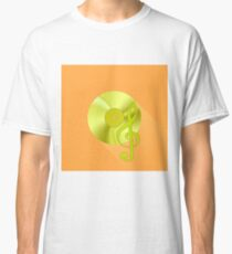 Gold Disc and Treble Clef on Orange Background. Long Shadow Classic T-Shirt