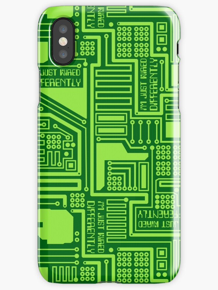 Im Just Wired Differently Circuit Board Pattern - Green\