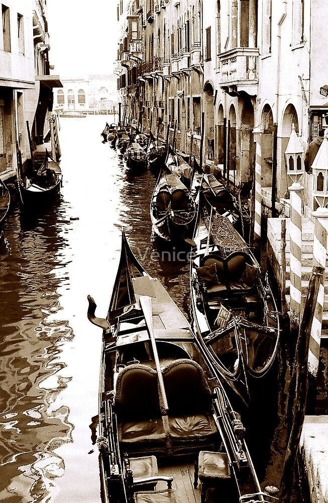 Gondolas waiting by Venice