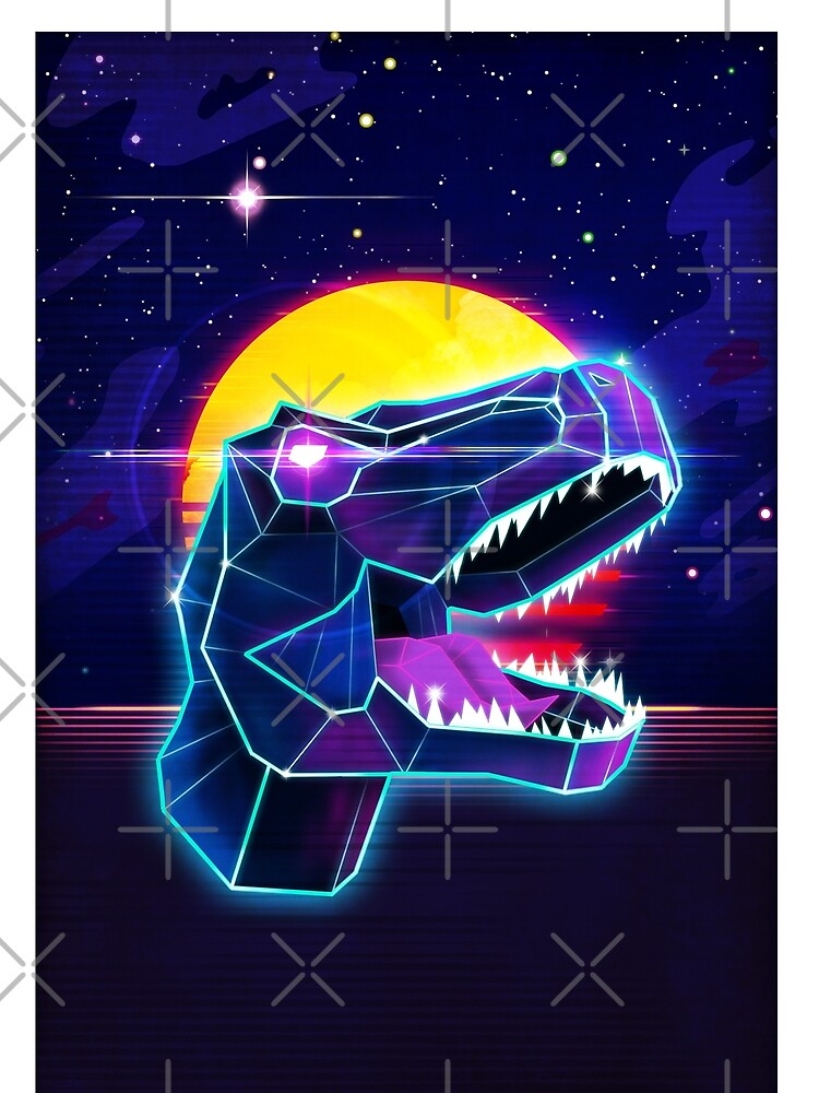 Electric Jurassic Rex - Neon Purple Dinosaur  by forge22