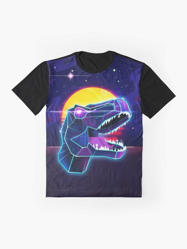 Alternate view of Electric Jurassic Rex - Neon Purple Dinosaur  Graphic T-Shirt
