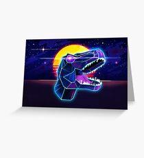 Electric Jurassic Rex - Neon Purple Dinosaur  Greeting Card