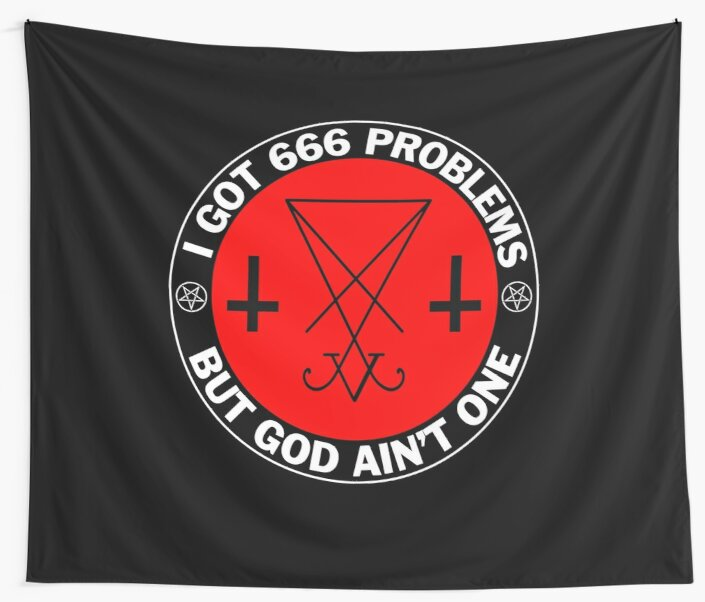 Inverted Pentagram With Sigil Of Baphomet 666 Problems Wall