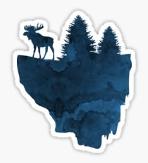 A moose on a floating island Sticker