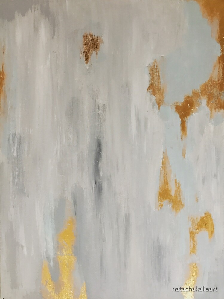 Grey gold abstract art by natashakaliaart
