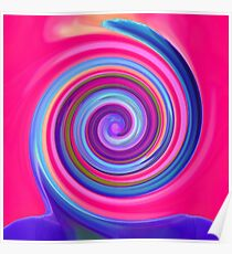 Swirly Candy   Hypnotic Wave   Vibrant Optical Illusion   Surreal Modern Print Poster