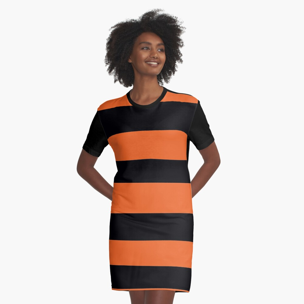 Halloween Stripes - Black and Orange - Classic striped pattern by Cecca Designs Graphic T-Shirt Dress Front