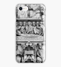 Historical, christian sculptures at Notre Dame Cathedral in Paris iPhone Case/Skin