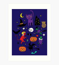 Retro Halloween - original - Halloween pattern by Cecca Designs Art Print