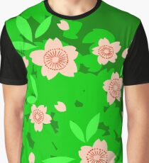 Cherry Blossom - Forest Green Graphic T-Shirt